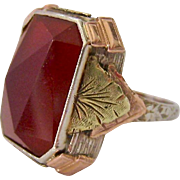 Exceptional Tri Color 14K Gold Carnelian Ring Ornate Interesting