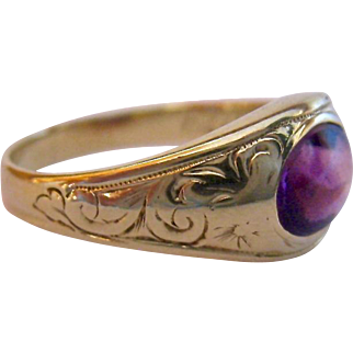 14K Gold Amethyst Ring Inscribed Dated June 1924
