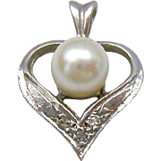 14K White Gold Cultured Pearl and Diamond Heart Pendant