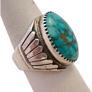 Sterling Silver 925 Turquoise Ring Large Chunky Feather Motif Size 9.5