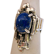 Amazing Sterling Silver 925 Lapis Brutalist Ring