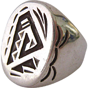 Substantial Sterling Silver 925 Native American Style Men's Ring