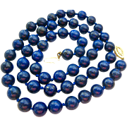 Lapis Bead Necklace 14K Clasp Hand Knotted