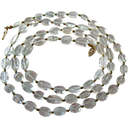 Rock Crystal Oval Bead Necklace Gold Filled Filigree Clasp 33 Inches