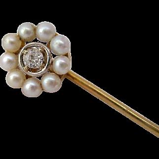 14K Gold Stick Pin Diamond Pearls Original Box