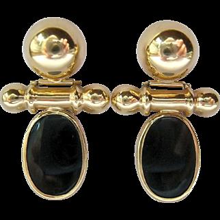 14K Gold Onyx Door Knocker Hinged Pierced Earrings 5.9 Grams