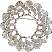 Sarah Coventry Silver Tone Round Wavy 3-D Brooch