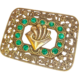 Art Nouveau Brooch Gold Tone with Vibrant Green Pastes