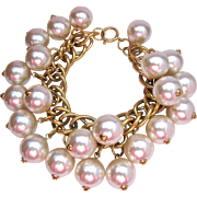 Large Faux Pearl Cha Cha Bracelet Nice Quality Great Luster