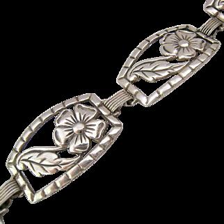 Sterling Silver 925 Panel Bracelet Open Floral Design