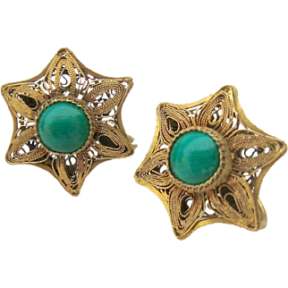Chinese Cannetille Star Shaped Screw Back Earrings Green Turquoise Colored Stone