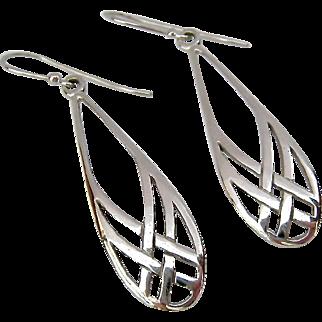 Sterling Silver 925 Celtic Design Dangle Wire Earrings