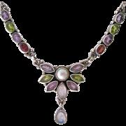 Sterling Silver 925 Multi Gemstone Necklace Garnet Amethyst Peridot