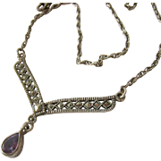 Sterling Silver 925 Necklace with Marcasite Centerpiece and Amethyst Drop
