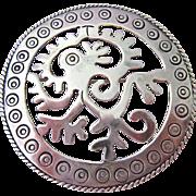 Large Sterling Silver 925 Round Brooch or Pendant Signed AA Adan Alvarado Eagle Mark 3