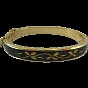 Black Enamel and Gold Tone Mourning Hinged Bangle Bracelet Safety Chain