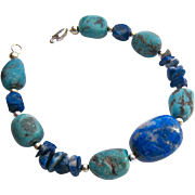 Turquoise, Blue Gemstone and Sterling Silver 925 Bracelet