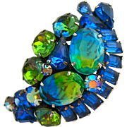 Stunning Large Blue Green Rhinestone Brooch High Quality