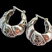 Sterling Silver 925 Wide Pierced Hoop Earrings