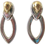 18K and Sterling Silver 925 Earrings Signed Bayanihan