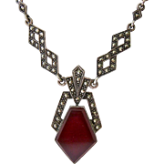 Art Deco Sterling Silver 925 Carnelian Marcasite Necklace