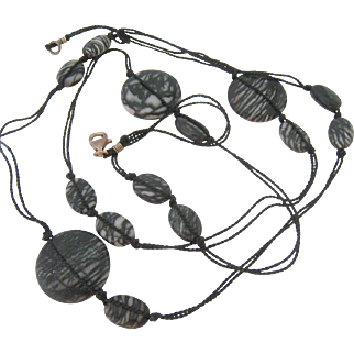 Gray Black Pattern Stone Necklace on Black Cord Sterling Silver Clasp