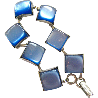 Blue Moonglow Bracelet Silver Tone Squares