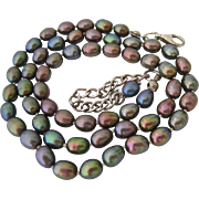 Black/Gray Peacock Cultured Pearl Necklace Sterling Silver 925 Clasp - Red Tag Sale Item