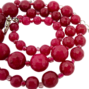 Graduated Faceted Red Gemstone Bead Necklace