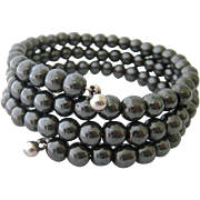 Hematite Bead Wire Wrap Bracelet Three Coils