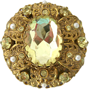 Large Domed Layered Yellow Paste Stone Brooch Germany