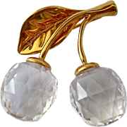 Swarovski Clear Crystal Gold Tone Cherries Pin Swan Signed