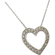 Vintage Otis Sterling Silver 925 Clear Paste Heart Necklace
