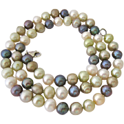 Multi-Color Strand Hand Knotted Cultured Pearl Necklace Sterling Silver Clasp - Red Tag Sale Item