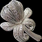 Sterling Silver 925 Filigree Cannetille Flower Pin Brooch
