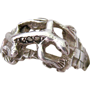 Sterling Silver Marcasite 925 Gecko Ring