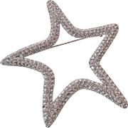 Huge Signed St John  Sparkle Star Brooch PIn