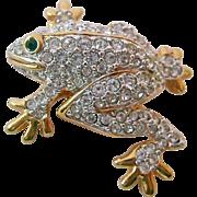 Swarovski Frog Pin Sparkly Swan Signed
