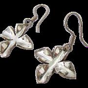 Sterling Silver 925 3-D Flower Dangle Wire Earrings