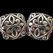 Sterling Silver 925 Ornate 3-D Open Work Post Earrings Signed JGD