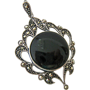 Sterling Silver 925 Marcasite Black Onyx Pendant