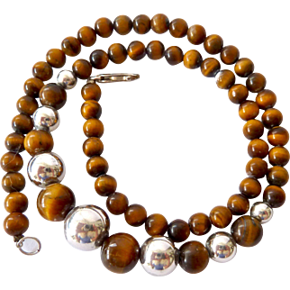 Graduated Sterling Silver 925 and Tiger Eye Bead Necklace