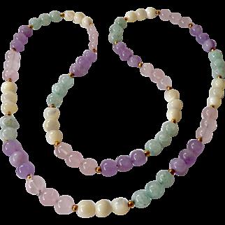 Multi-Color Quartz Bead Necklace Endless