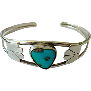 Sterling Silver Turquoise Cuff Bracelet Southwest Style