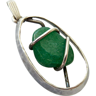 Sterling Silver 925 Aventurine Wrapped Pendant