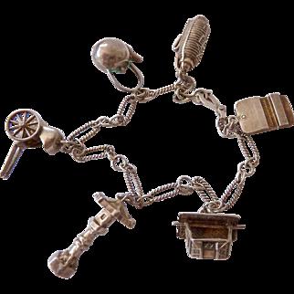 Oriental Theme Sterling Silver 925 Charm Bracelet