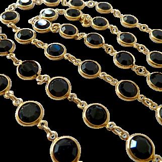 Swarovski Black Crystal Bezel-Set Necklace Swan Signed 35 Inches
