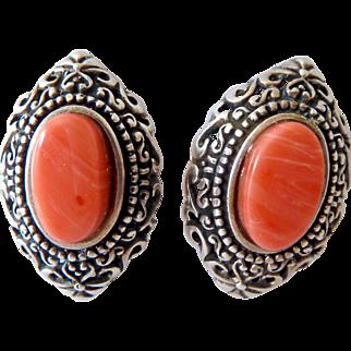 Sterling Silver 925 Coral Earrings
