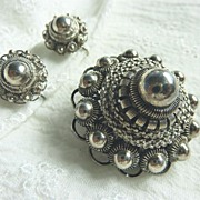 Etruscan 835 Silver Demi Parure Brooch Earrings Impressive - Red Tag Sale Item