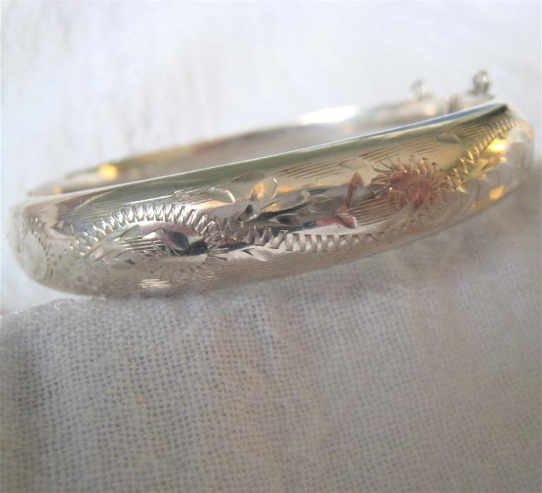 Sterling Silver 925 Hinged Bangle Bracelet British